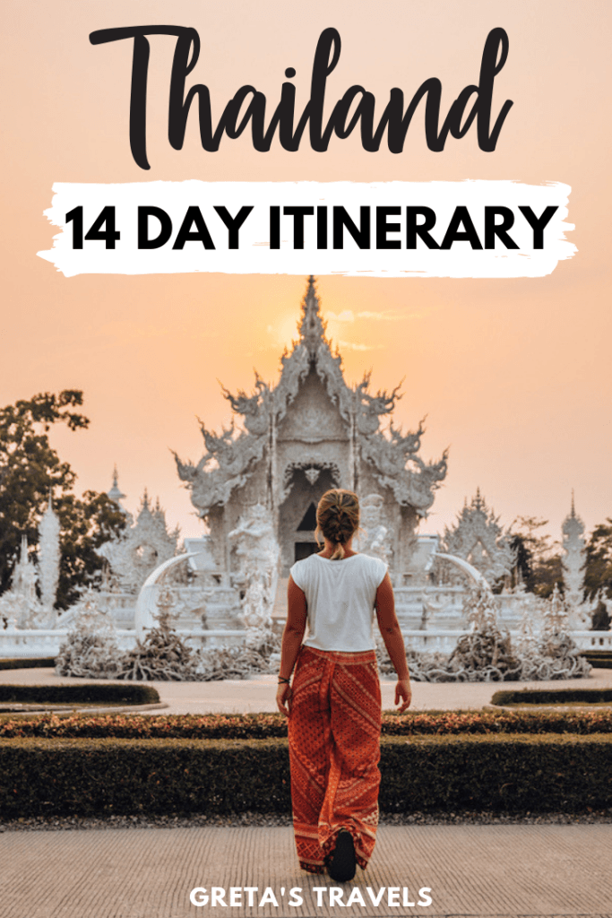 """Blonde girl walking in front of the White Temple of Chiang Rai at sunset with text overlay saying """"Thailand 14-day itinerary"""""""