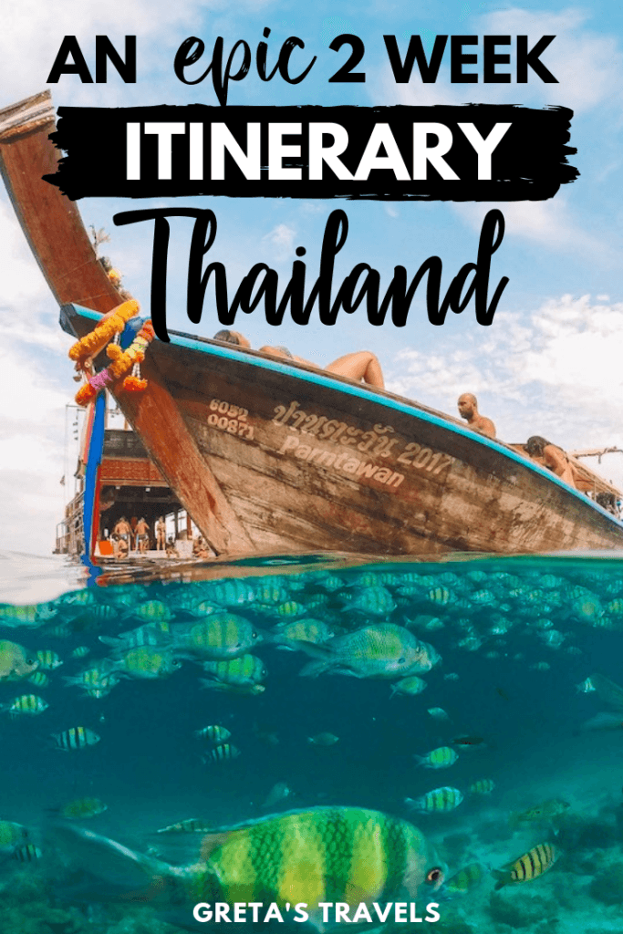 """50/50 over/under water shot of a Thai longtail boat with text overlay saying """"an epic 2 week itinerary Thailand"""""""