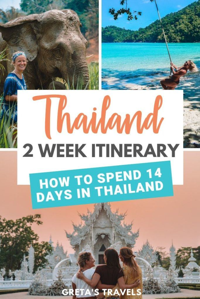 """Photo collage of the White Temple in Chiang Mai, elephants in Chiang Mai and the beach in the Surin Islands with text overlay saying """"Thailand 2-week itinerary - how to spend 14 days in Thailand"""""""