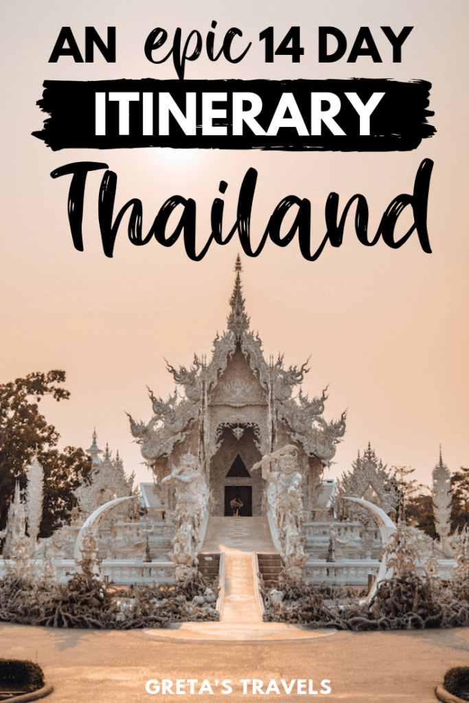"""The white temple in Chiang Rai at sunset with text overlay saying """"an epic 14-day itinerary Thailand"""""""