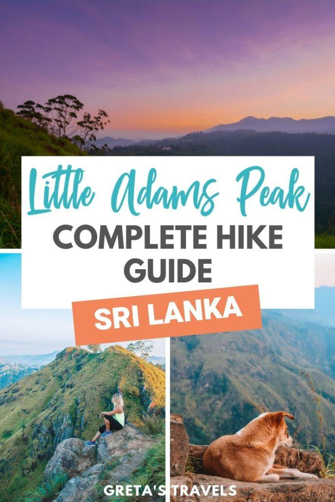 """Collage with photos of Little Adams Peak at sunrise and a text overlay saying """"Little Adams Peak, Complete hike guide, Sri Lanka"""""""