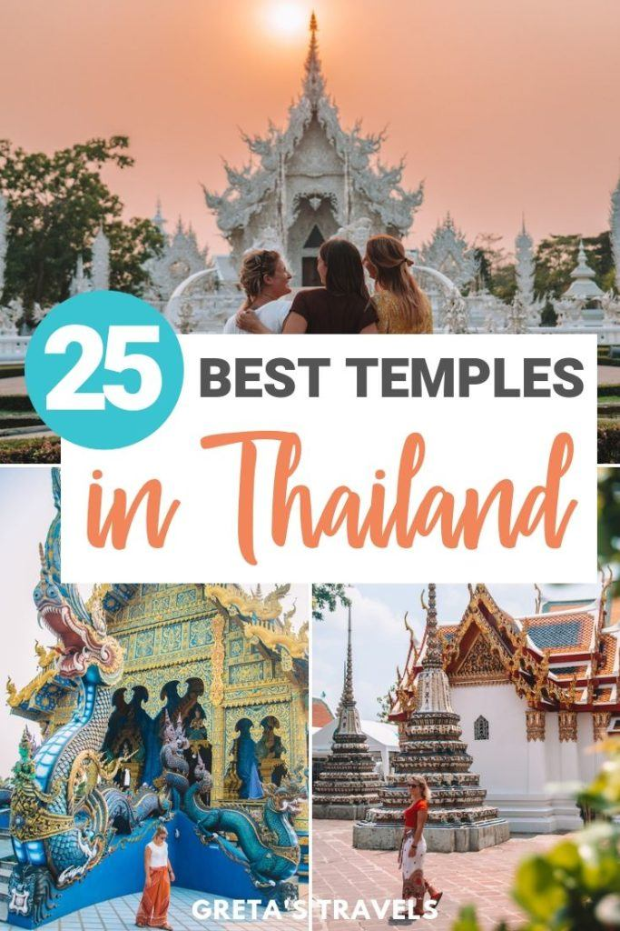 "Collage of three temples (White temple, Wat Pho and the Blue Temple) with text overlay saying ""25 best temples in Thailand"""