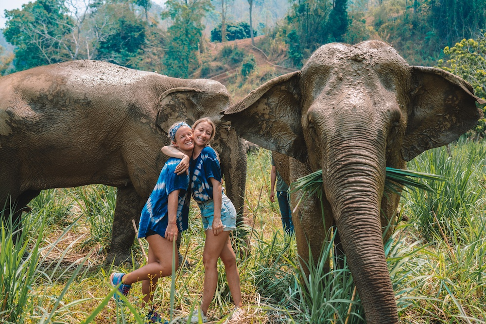 Spending time with the elephants at Elephant Nature Park, in Chiang Mai, Thailand