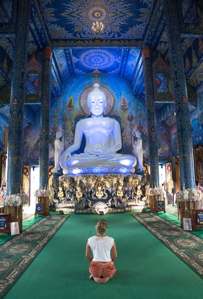 The inside of the Blue Temple in Chiang Rai