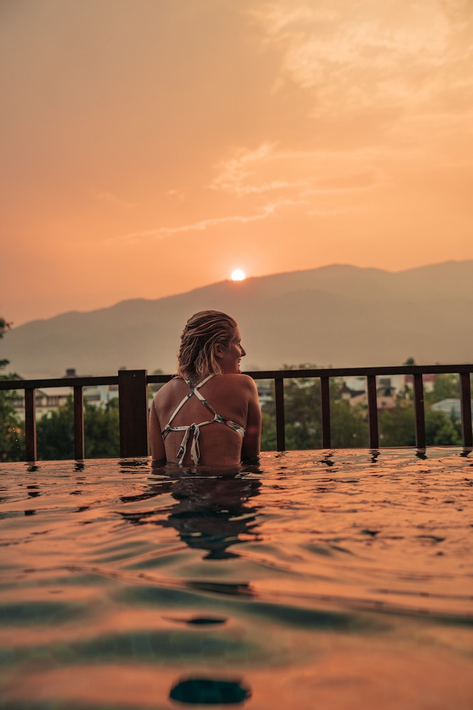 Enjoying the sunset from the rooftop pool of Le Meridien in Chiang Mai