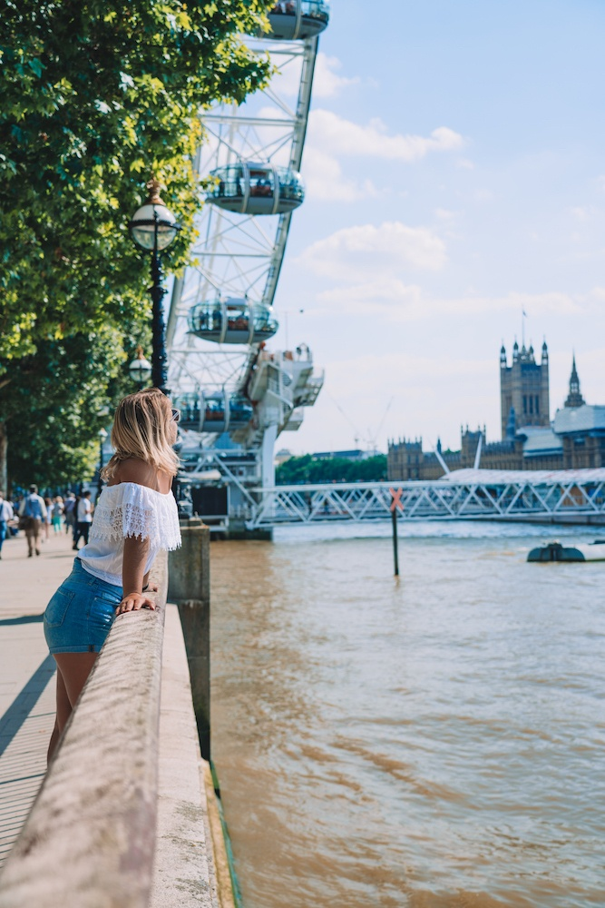 Enjoying the view over the Thames, the London Eye and Westminster from Southbank