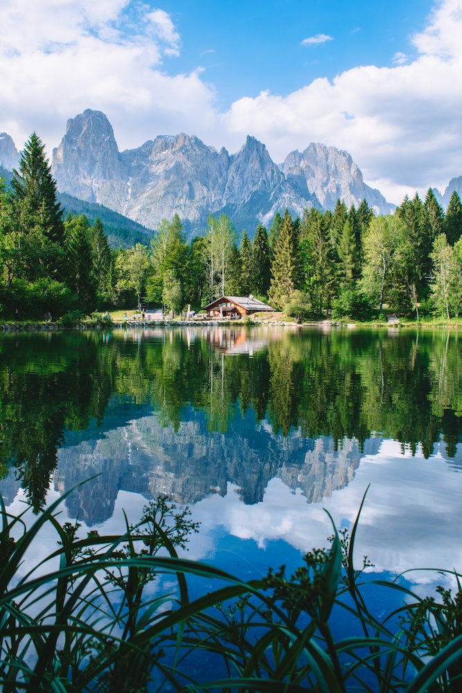 Beautiful reflections at Lake Welsperg in Trentino, Italy