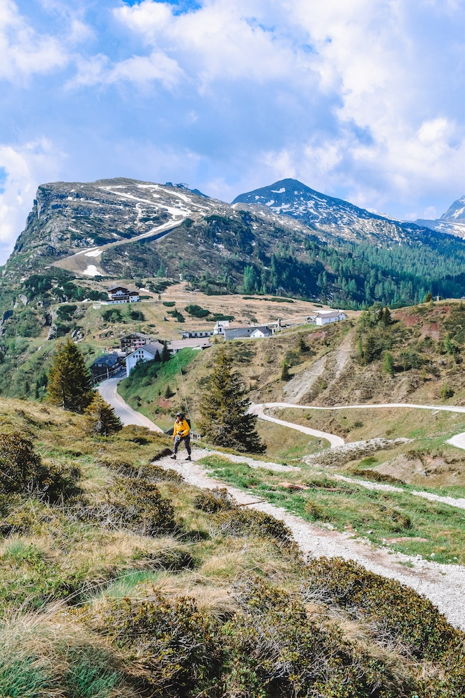 Hiking up Rolle Pass in Trentino