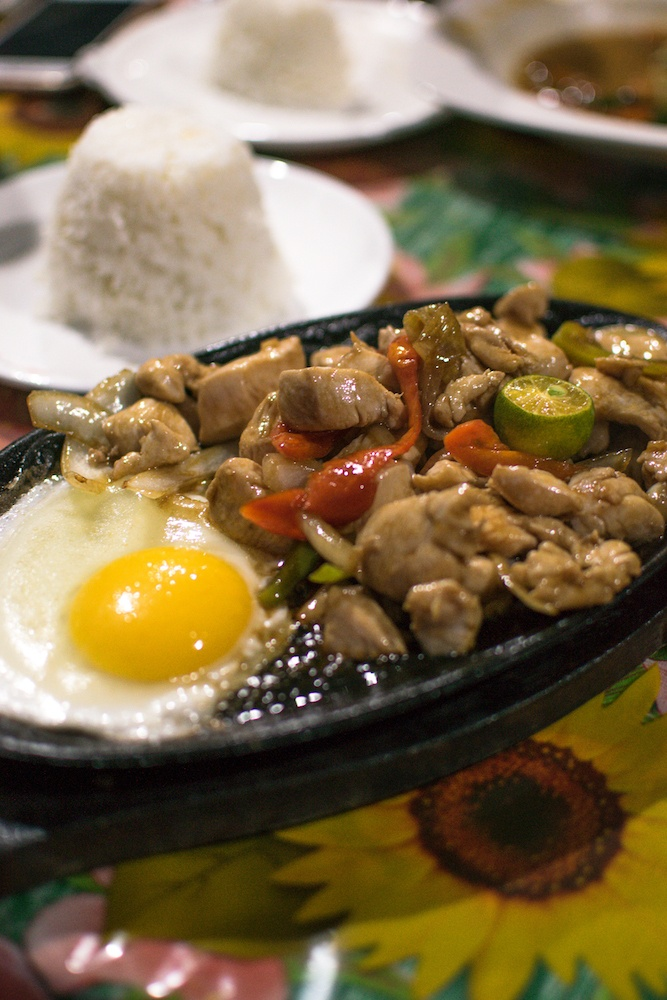 A chicken sisig I ate in Moalboal, a traditional Filipino dish