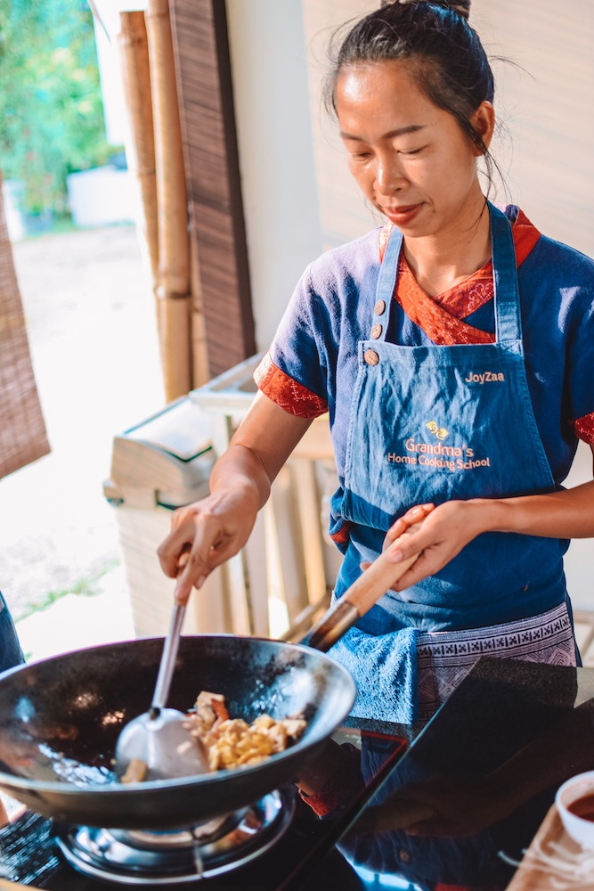 Learning how to make Pad Thai during our Chiang Mai cooking class