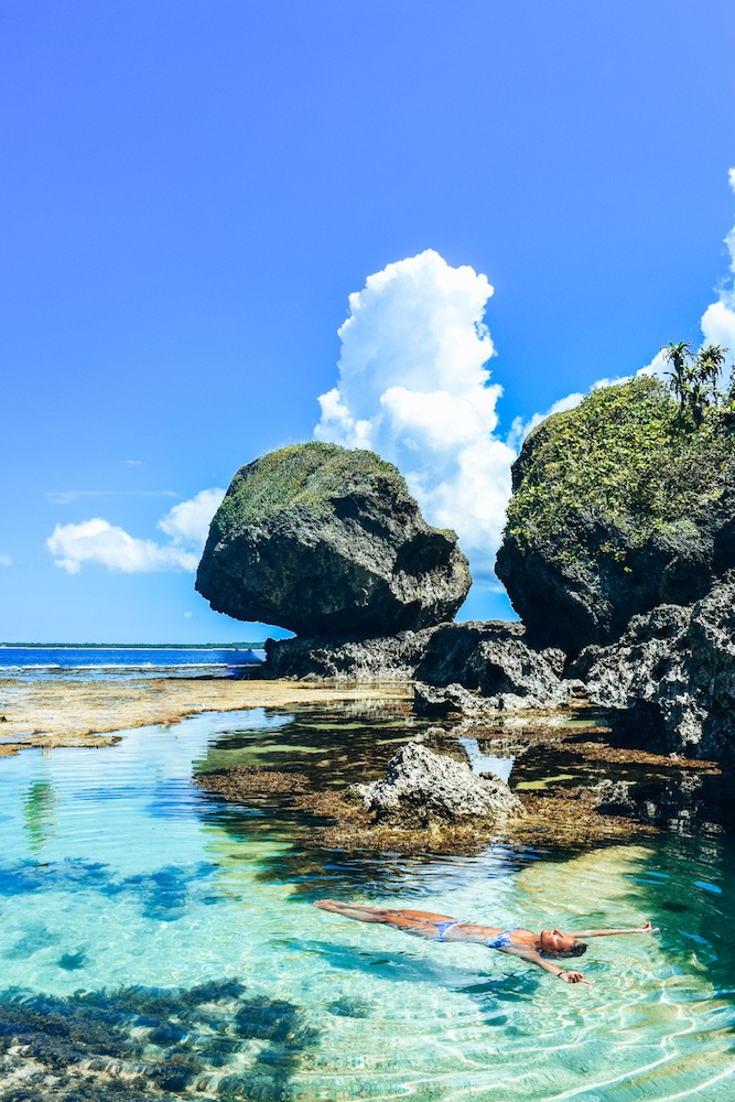 Floating in the Magpupungko rock pools of Siargao