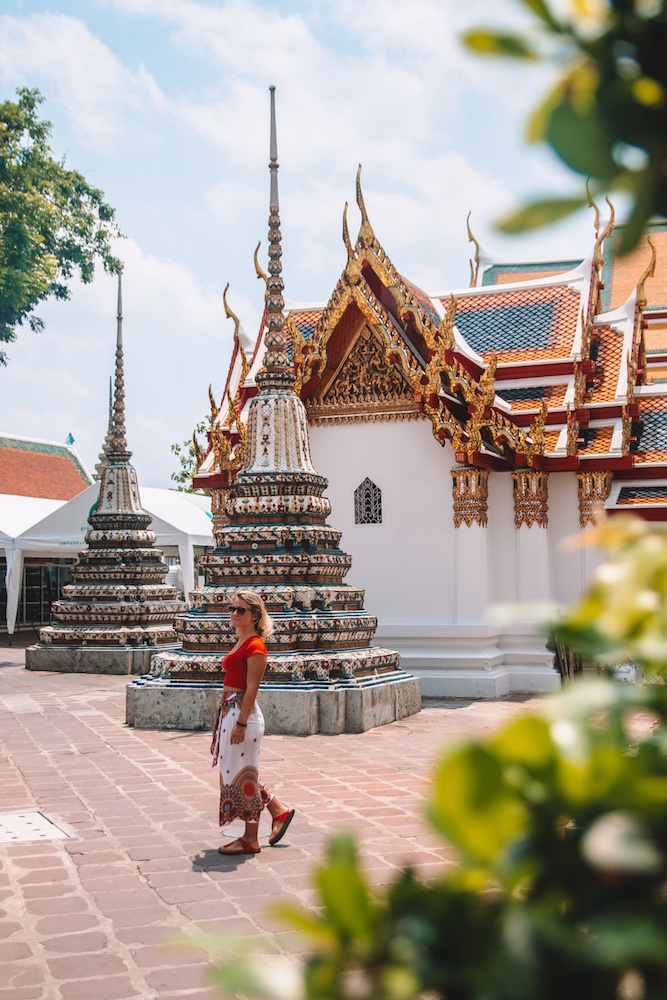 Exploring the outside grounds of Wat Pho in Bangkok, Thailand
