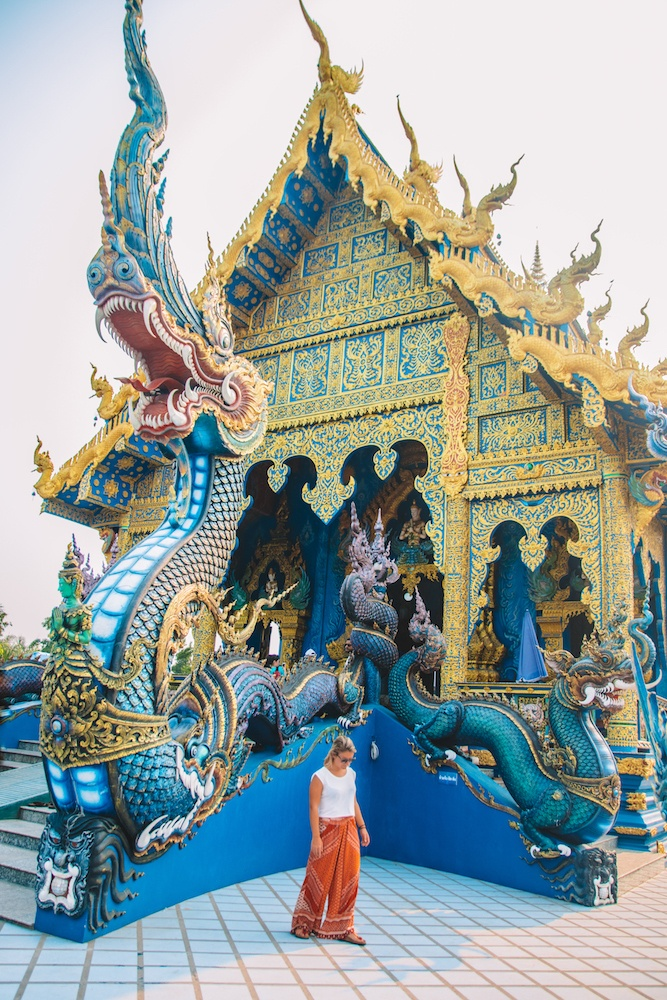 The front of Wat Rong Suea Ten (the Blue Temple) in Chiang Rai, Thailand