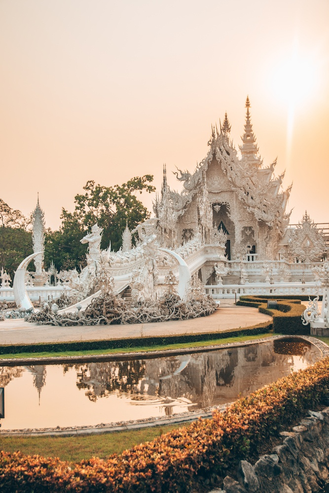 The White Temple (Wat Rong Khun) in Chiang Rai, Thailand, at sunset