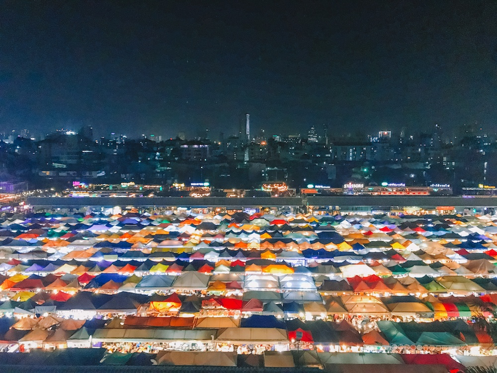 Chatuchak Night Market in Bangkok as seen from above