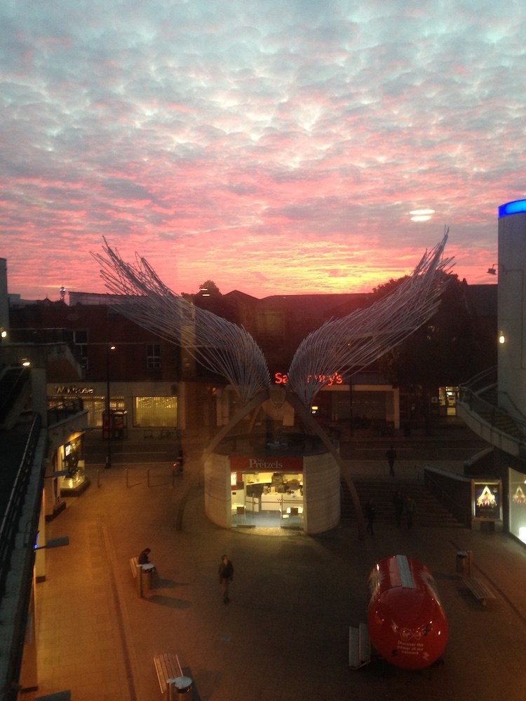 Sunset from the cinema in the mall in Angel, London