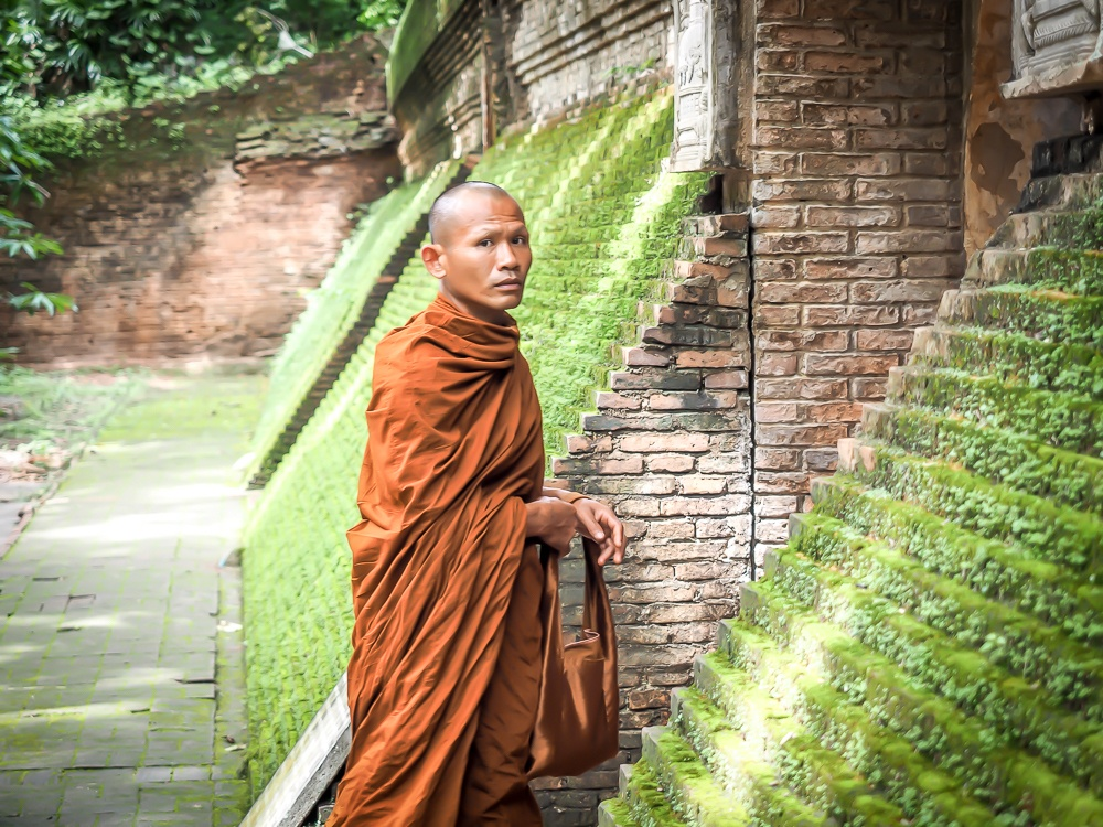A Buddhist monk at Wat U Mong in Chiang Mai, photo by Spiritual Travels