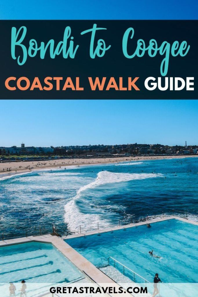 "The iconic Bondi Icebergs pool in Sydney, with text overlay saying ""Bondi to Coogee coastal walk guide"""