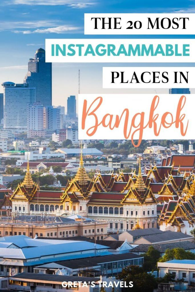 """Wat Arun and the Bangkok skyline in the distance with text overlay saying """"the 20 most Instagrammable places in Bangkok"""""""