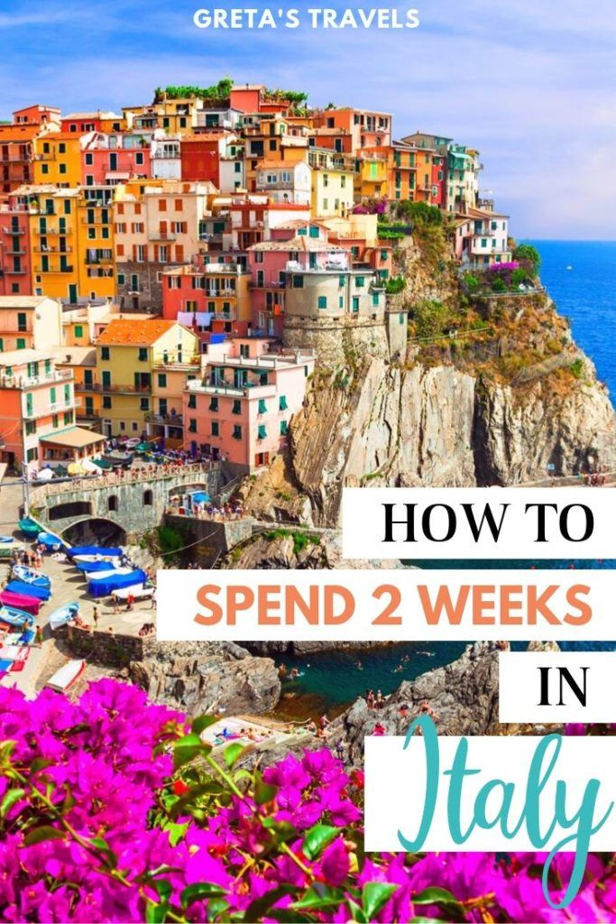 """The colourful houses of Manarola in Cinque Terre with text overlay saying """"how to spend 2 weeks in Italy"""""""