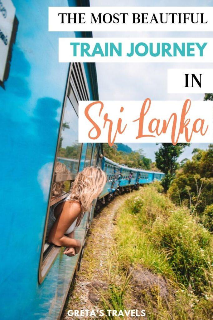 """Girl leaning out of the turquoise train with green fields in front of her, with text overlay saying """"the most beautiful train journey in Sri Lanka"""""""