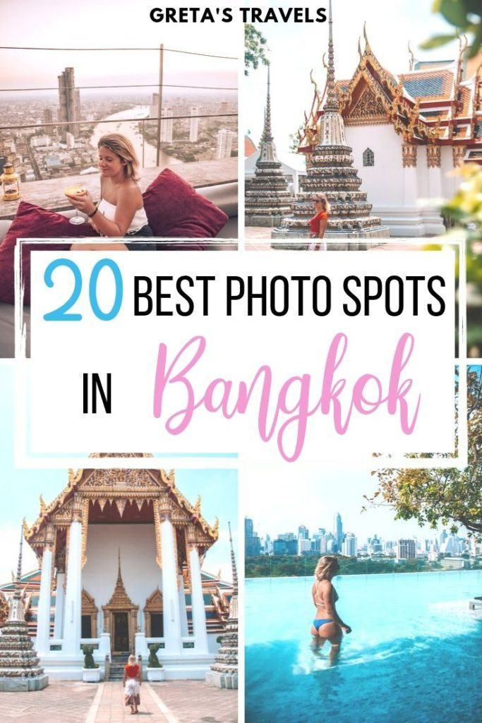 """Collage of the temples, skyline and tuk tuks of Bangkok with text overlay saying """"20 best photo spots in Bangkok"""""""