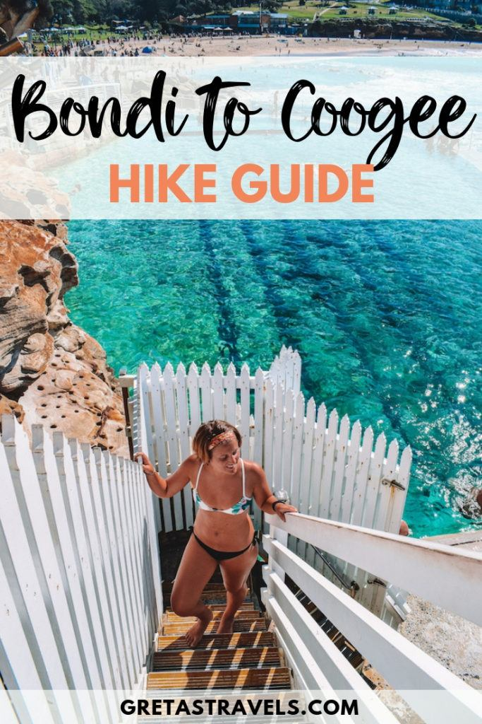 "Girl standing by the rock swimming pool of Bronte Beach in Sydney, with text overlay saying ""Bondi to Coogee hike guide"""