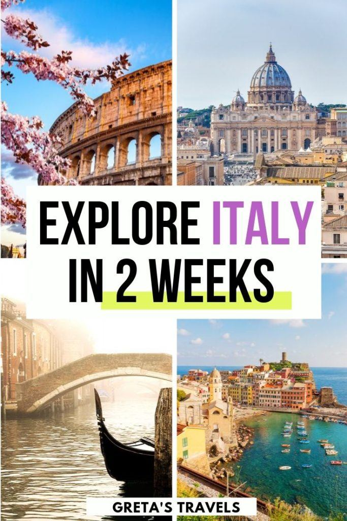 """Collage of Rome, Venice and Cinque Terre with text overlay saying """"explore Italy in 2 weeks"""""""