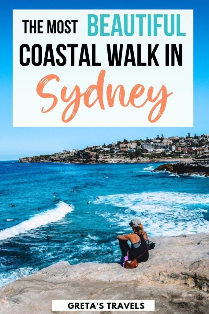 "Girl overlooking the ocean somewhere along the Bondi to Coogee coastal walk, with text overlay saying ""the most beautiful coastal walk in Sydney"""