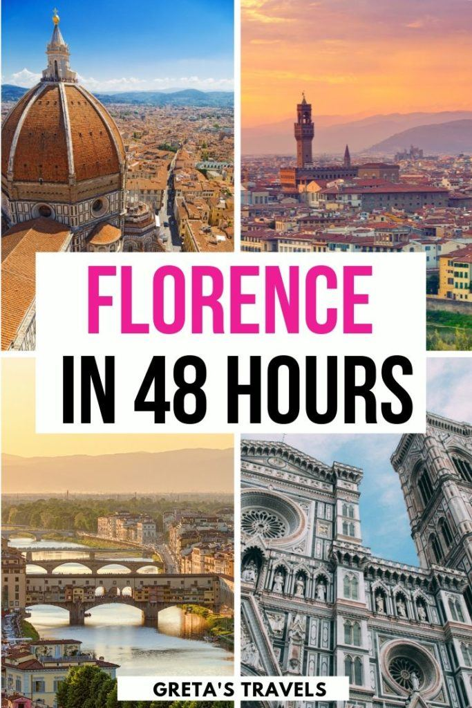 """Collage of all the most iconic spots in Florence with text overlay saying """"Florence in 48 hours"""""""
