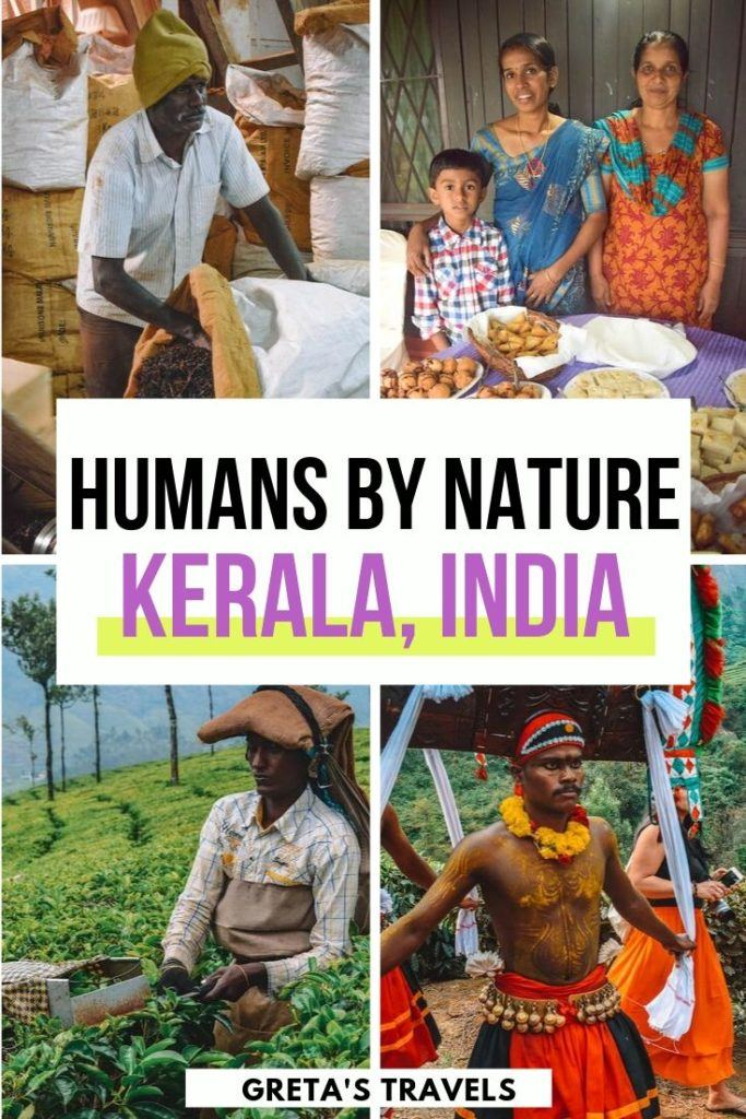 """Collage of local people in Kerala, India, with text overlay saying """"Humans By Nature - Kerala, India"""""""