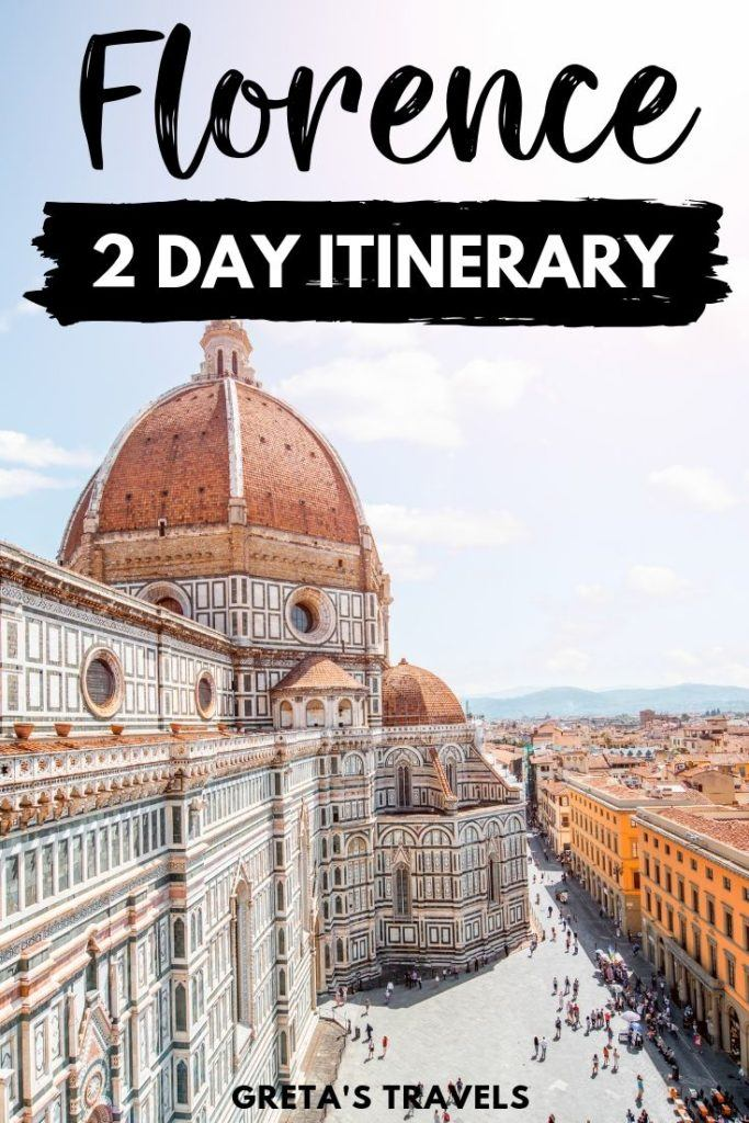 """Photo of the Duomo of Florence with text overlay saying """"Florence 2-day itinerary"""""""