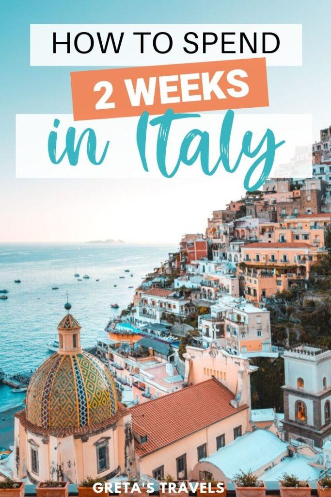 """The colourful rooftops of the Amalfi Coast with text overlay saying """"how to spend 2 weeks in Italy"""""""