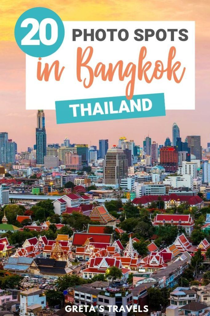 """The Bangkok skyline and temples from above with text overlay saying """"20 best photo spots in Bangkok, Thailand"""""""