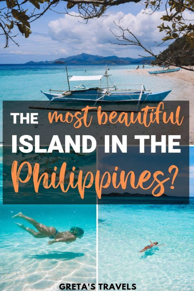 """Collage of Malcapuya Island with text overlay saying """"the most beautiful island in the Philippines?"""""""