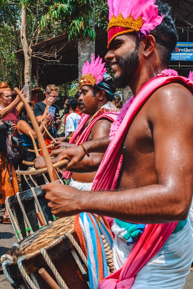 Drummers at a street parade that we stumbled upon while driving around Kerala