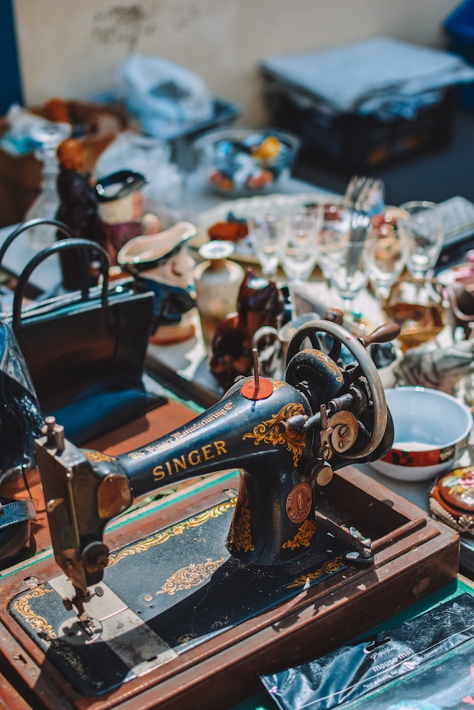 An old school sewing machine at a vintage market stall in the Lanes in Brighton