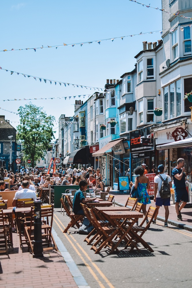 The lively and colourful streets of Brighton in summer