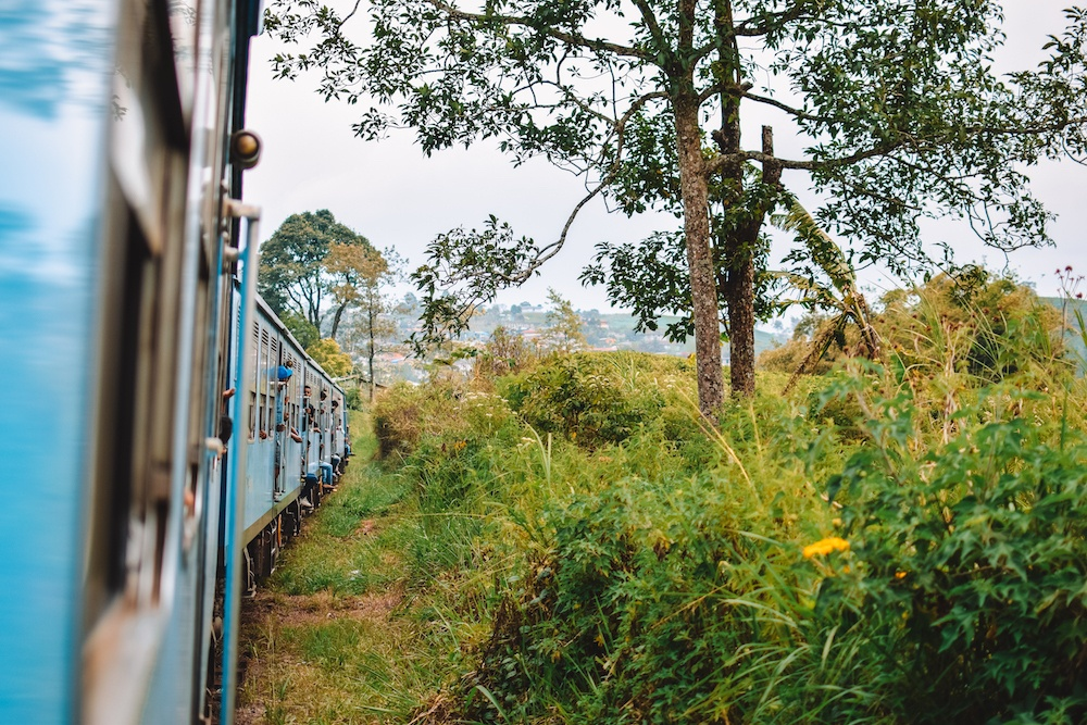 The famous turquoise train on the journey from Kandy to Ella
