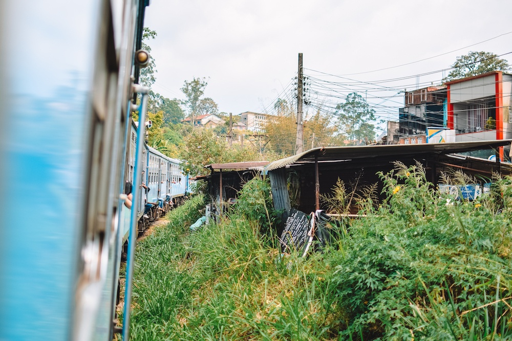 The Kandy to Ella train as it approaches one of the cities along its journey