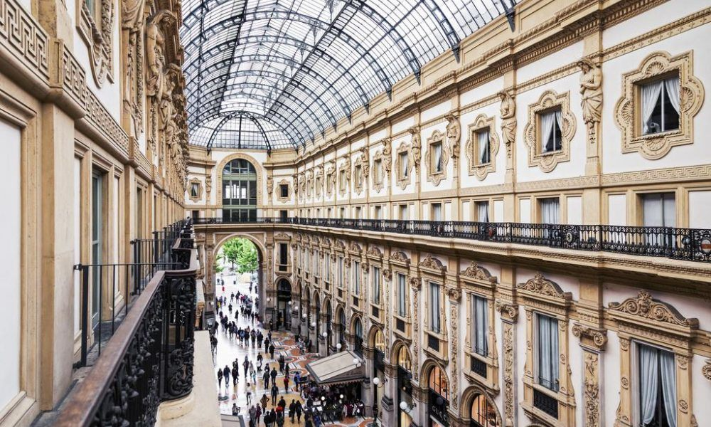 The view over Galleria Vittorio Emanuele in Milan from the balcony of one of the bedrooms at Galleria Vik, Milano