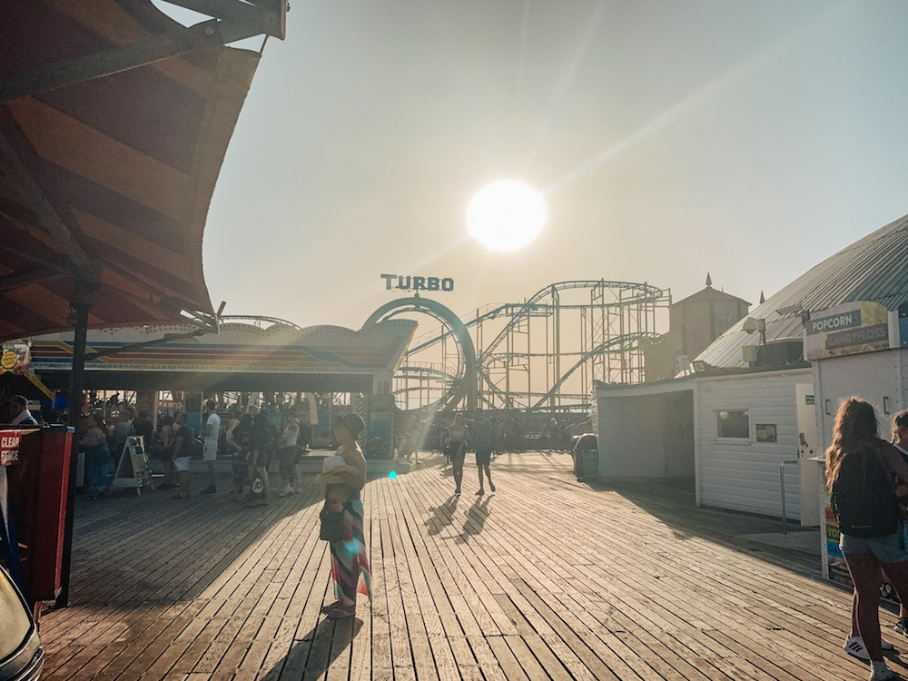 The fun fair / arcade at the end of Brighton Palace Pier, also a popular spot in evenings!