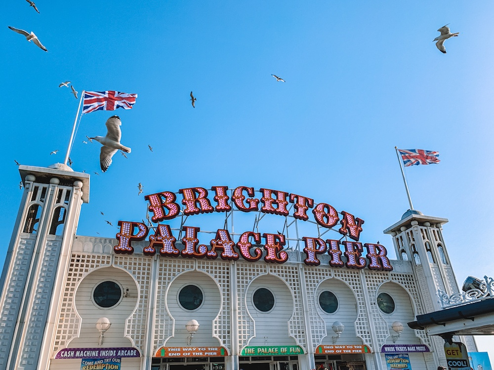 The colourful sign of Brighton Palace Pier