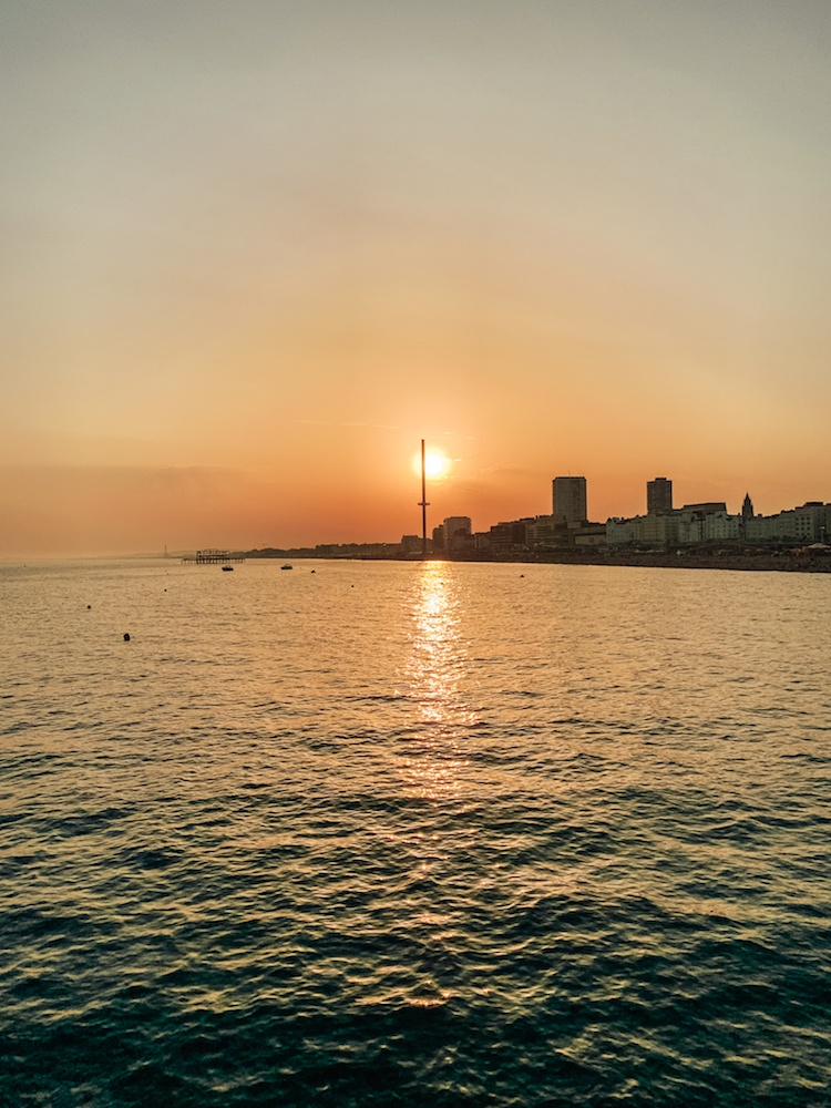 The sunset over Brighton as seen from the Brighton Palace Pier