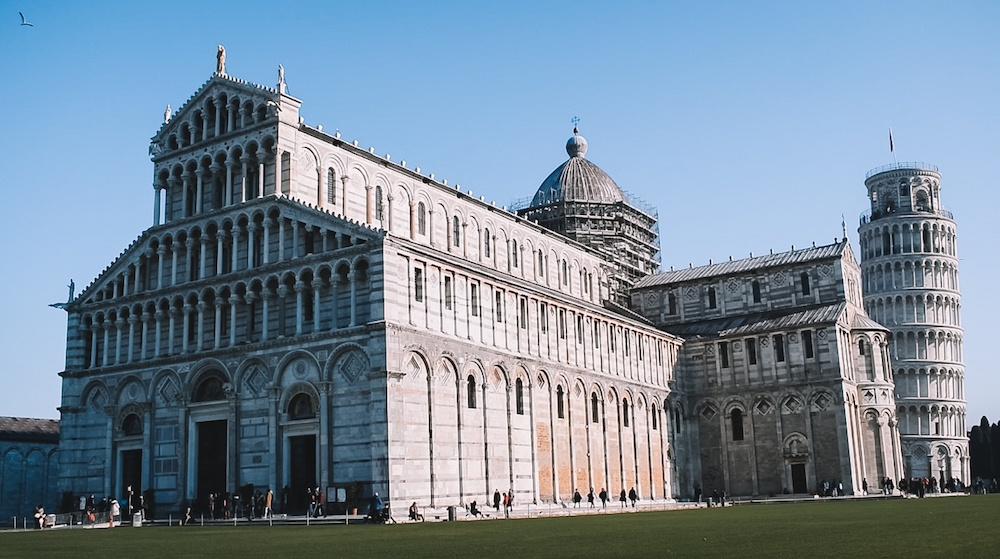 The Duomo of Pisa with the Leaning tower in the back