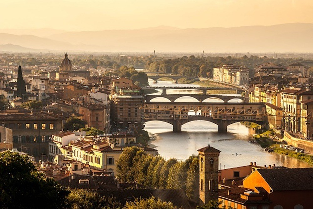 Golden hour over the River Arno in Florence, Italy