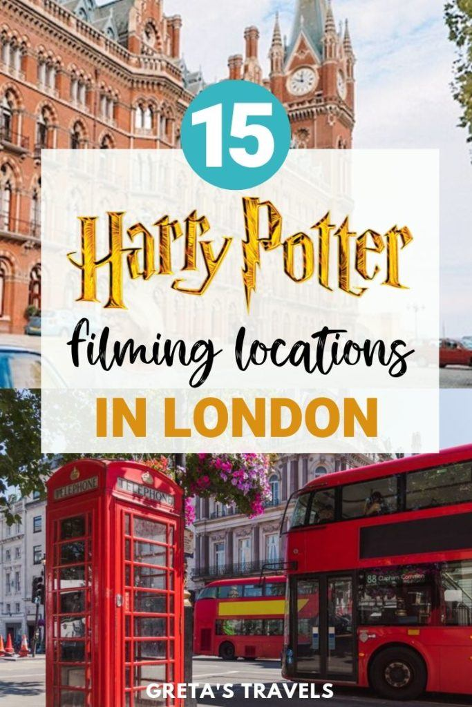 "Collage of St Pancras station and a red phone box in London with text overlay saying ""15 Harry Potter filming locations in London"""