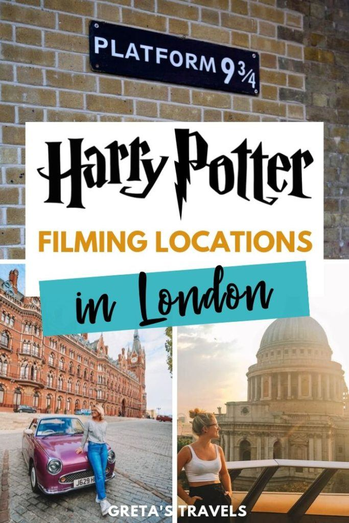 "Collage of St Pancras station, St Pauls Cathedral and the platform 9 and 3/4 sign in London with text overlay saying ""Harry Potter filming locations in London"""