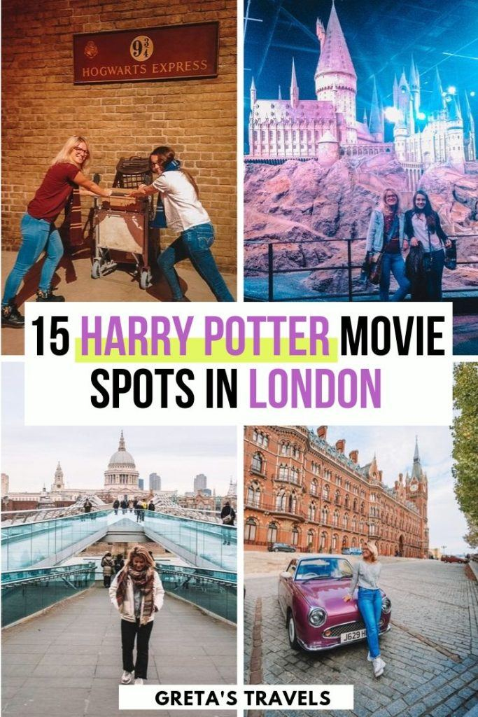 "Collage of St Pancras station, Millenium Bridge, platform 9 and 3/4 and the Warner Bros studios in London with text overlay saying ""15 Harry Potter movie spots in London"""