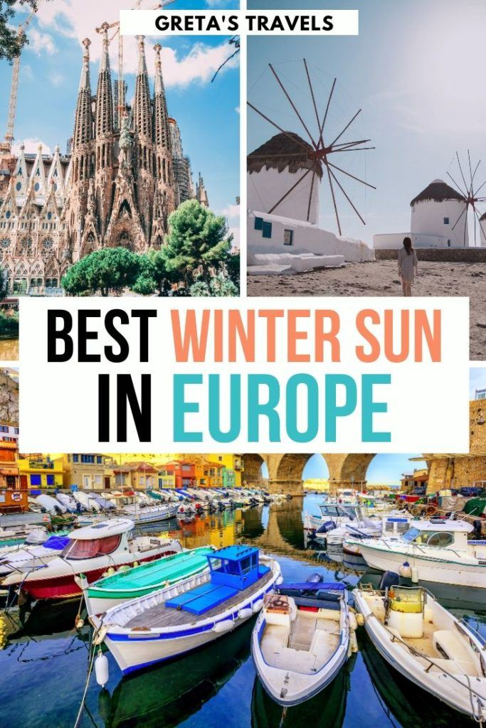 "Collage of the Sagrada Familia in Barcelona, the white windmills of Mykonos and colourful boats in Malta harbour with text overlay saying ""best winter sun in Europe"""